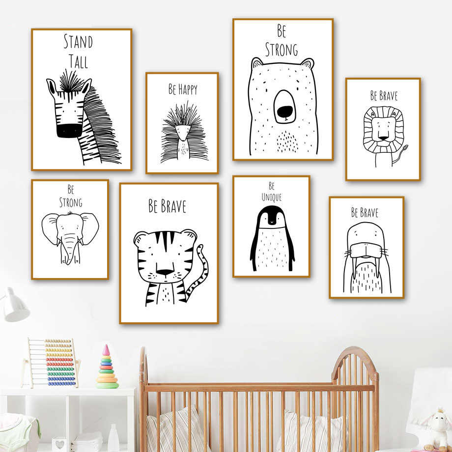 Wall Art Canvas Painting Fox Zebra Tiger Elephant Penguin Cartoon Nordic Posters And Prints Wall Pictures For Kids Room Baby Boy