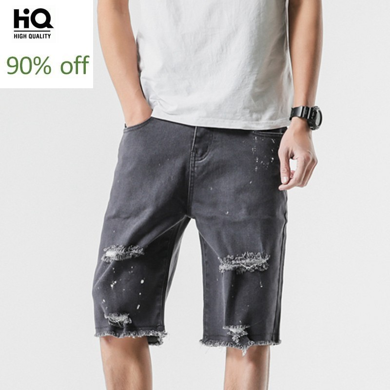 Male Casual Denim Shorts Korean Fashion Streetwear Vintage Washed Hole Ripped Trouser Summer Slim Straight Jeans Man Plus Size