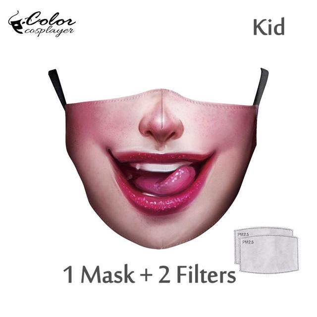 Color Cosplayer Cute Kids Face Fabric Mask Animal Mouth Cosplay Masks Childrens Washable Fabric Mask Mouth Cover 2