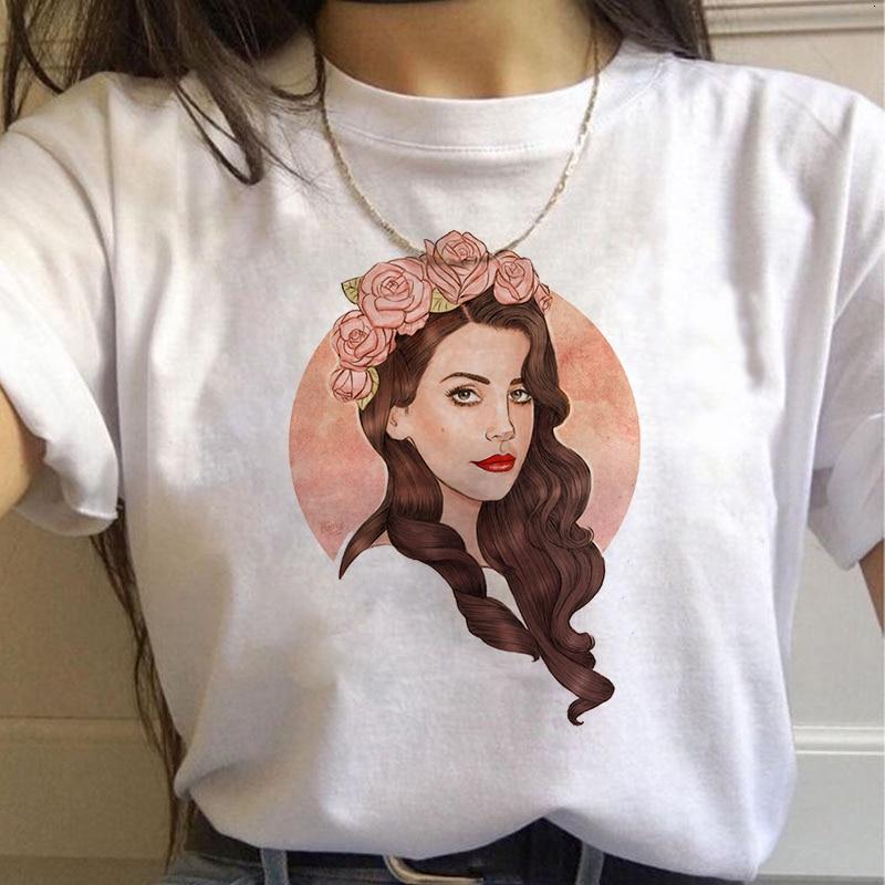 90s Graphic Aesthetic Tshirt Korean Style Top Tees Female Lana Del Rey Harajuku Ullzang T Shirt Women Funny Print Fans T-shirt