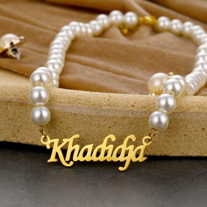 Персонализированные именные ожерелья на заказ жемчужное ожерелье для женщин колье из нержавеющей стали кулон-табличка с именем эффектное ...