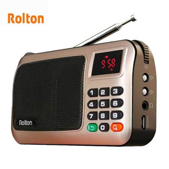 Rolton W405 Digital Portable Mini Mp3 Play Portable Fm radio Music Player Speaker TF USB With Flashlight Money Verify