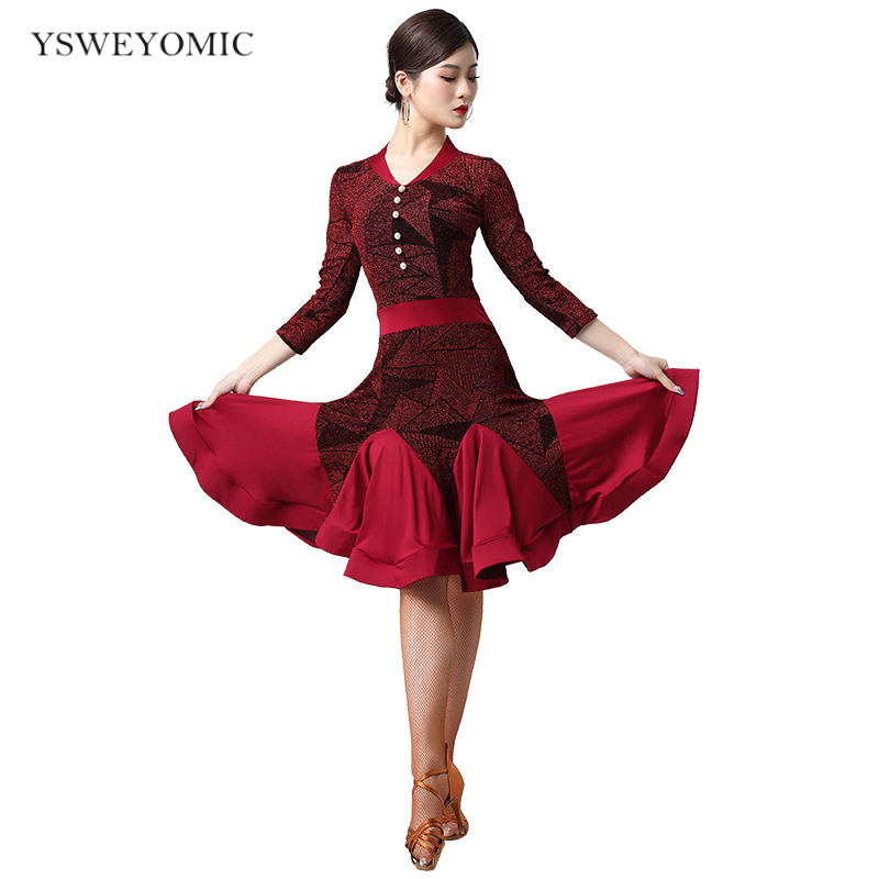 Women Dance Wear Ballroom 2020 Latin Dress Samba Costume Sexy Party Dresses Sheer Mesh Stretchy One-piece Latin Dress Rose