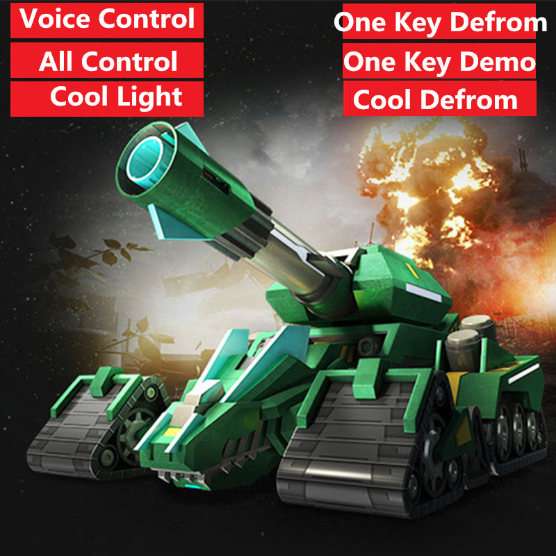 2.4G remote control rc battle tank One Key Defrom dinosaur Car cannon Tank & dinosaur 2in 1 Toy Model Voice Control cool light