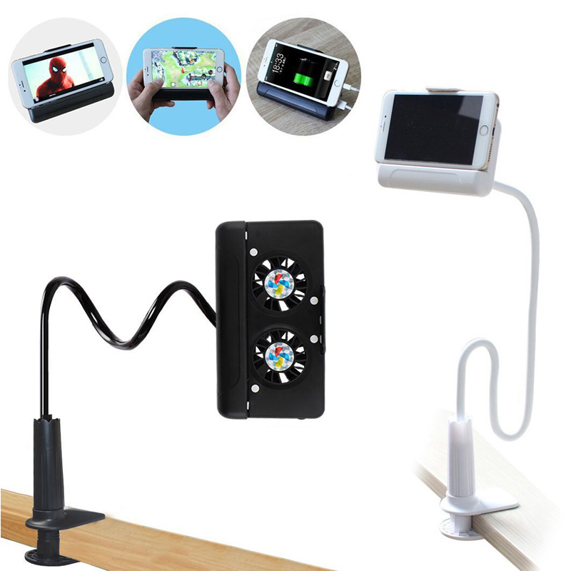 4 in 1 Portable Cell Phone Cooler Cooling + Power Bank + Double Stand + Gooseneck Stand for Game Movie NC99