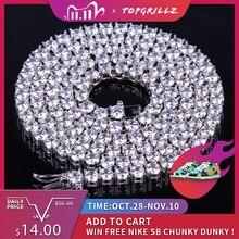 TOPGRILLZ collar ostentoso de circonita AAA para hombre, cadena de tenis de 1 fila, joyería de Hip hop, abalorios de Color dorado y plateado, 2,5mm 10mm