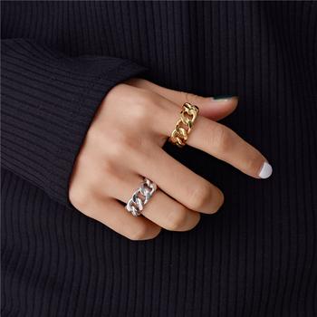 Peri #8217 sBox złoty kolor srebrny masywny łańcuch pierścienie Link Twisted geometryczne pierścienie dla kobiet Vintage otwarte pierścienie regulowane 2019 Trendy tanie i dobre opinie Peri sBox CN (pochodzenie) Ze stopu cynku Kobiety Metal Archiwalne Zespoły weselne GEOMETRIC Wszystko kompatybilny R0089