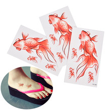 Waterproof Temporary Tattoo gold fish swimming goldfish tatto stickers flash tatoo fake tattoos for girl women(China)