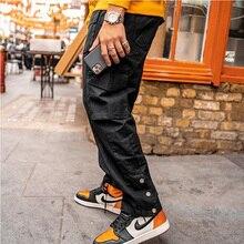2021 new hip-hop jogger men's black harem overalls multi-pocket ribbon men's sports pants streetwear casual men's casual pants