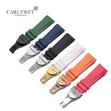 цена на CARLYWET 22mm Black Blue Orange Red Green White Waterproof Silicone Rubber Watch Band Straps Bracelets For Tudor Black Bay