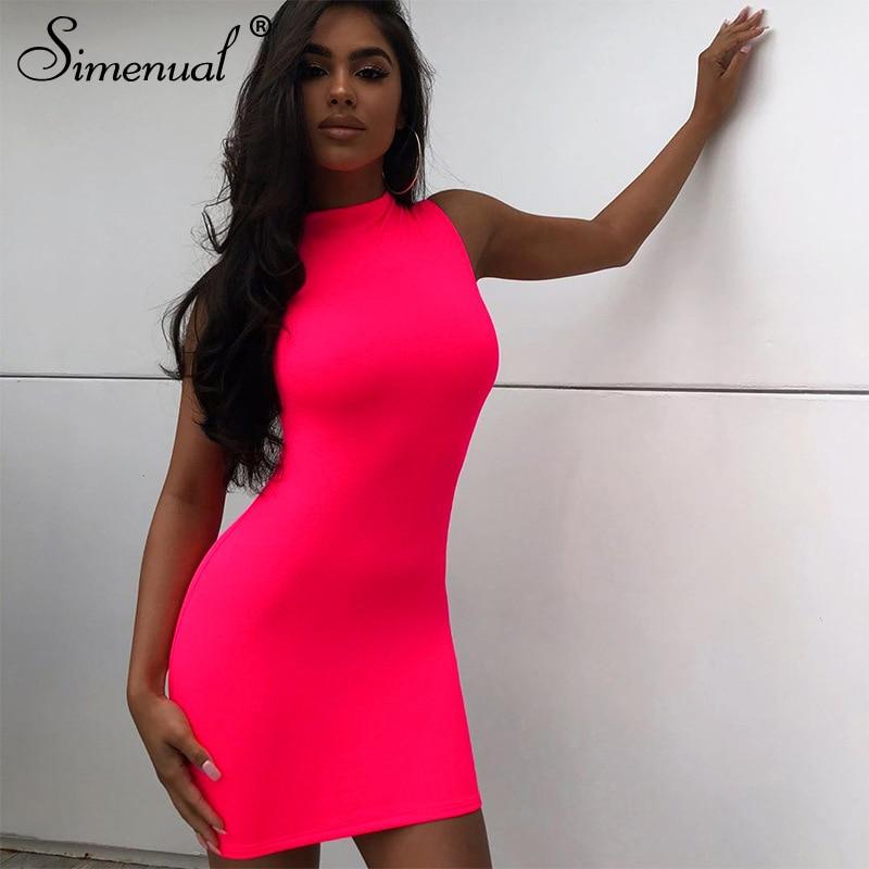 Simenual Neon Pink Sleeveless Women Mini Dress Bodycon Sexy Fashion Party Clubwear Skinny Solid Slim Basic 2020 Hot Dresses Slim