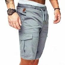 Шорты мужские хлопковые в стиле милитари, прямые штаны для работы, на шнуровке, с карманами, повседневные винтажные Бермуды, лето
