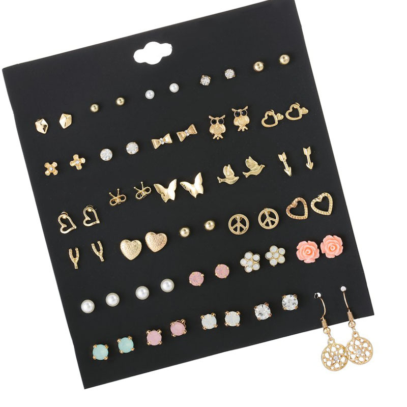 60PCS=30 Pairs Of Great Deals New Fashion Korean Sweet Flower Heart-shaped Bow Woman Earrings Set Color Set Cubic Zirconia