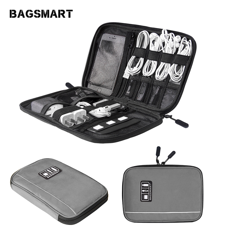 BAGSMART Electronic Accessories Organizers For SD Card IPhone Dater Cables Earphone USB Digital TravelCase Organize Handbag