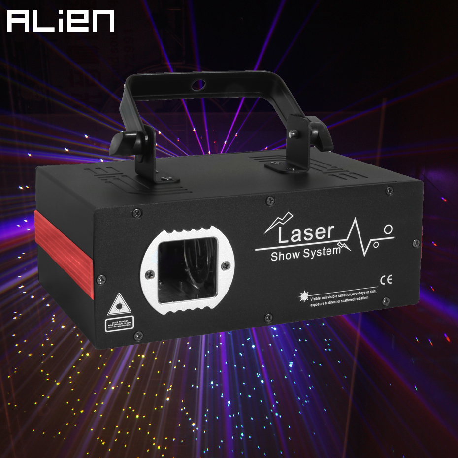 ALIEN 2W White Yellow Blue Pink 4 Color Starry Sky Laser Projector DMX DJ Disco Party Wedding Holiday Bar Stage Lighting Effect