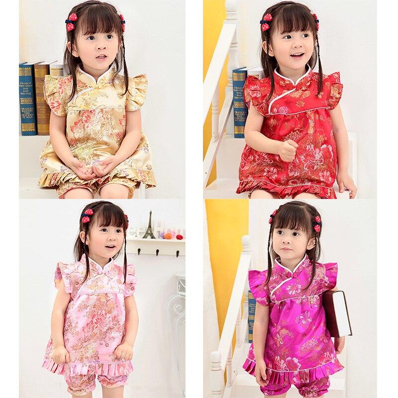 CHILDREN'S Dress Girls Princess Tutu Childrenswear Baby-wear Suit Cheongsam Baby Chinese Costume Grabbing Test On The Occasion O