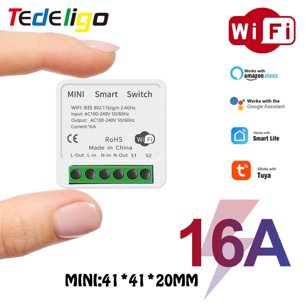 Smart Life/Tuya MINI 16A Smart WIFI DIY Switch for LED Light Supports 2 Way,APP Remote Control Work With Alexa Echo Google Home