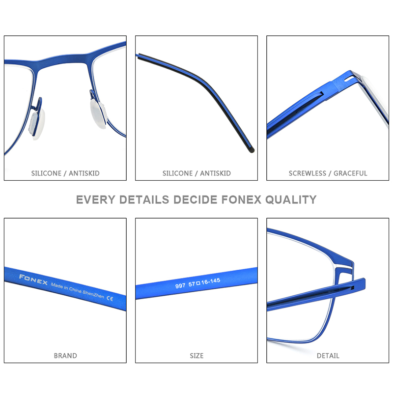 FONEX Alloy Eyeglasses Men Square Myopia Prescription Optical Frames Glasses 2020 New Metal Full Korean Screwless Eyewear F1009