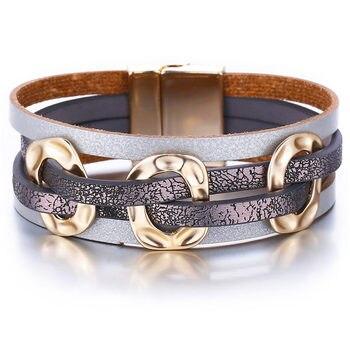 Women's Gold Leather Bracelet Bracelets Jewelry New Arrivals Women Jewelry Metal Color: FCS154122