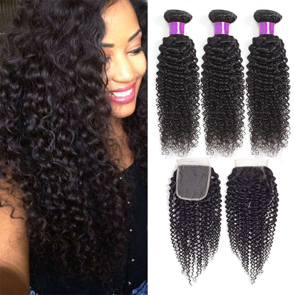 Liddy Bundles With Closure Brazilian Curly Hair 3 Bundles With Closure 100% Human Hair Natural Color Non-remy Hair Extensions