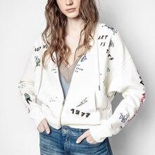 100% Cotton Coat Ladies Graphic Print Coat Women