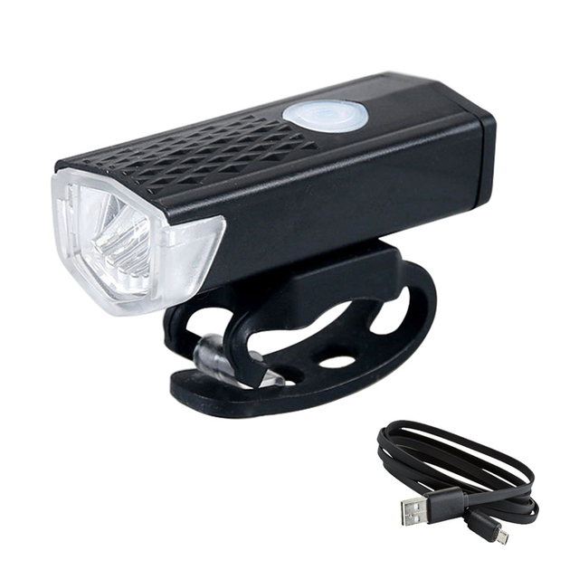Luz dianteira de bicicleta recarregável por usb, farol de bicicleta com 300 lumens e 3 modos, iluminação de led para ciclismo, lanterna 1
