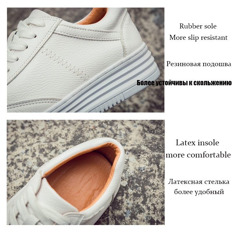 Fashion White Split Leather Women Chunky Sneakers White Shoes Lace Up Tenis Feminino Zapatos De Mujer Platform Women Casual Shoe 5