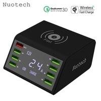 Cargador USB inalámbrico Nuotech Qi de 60W con pantalla LED  carga rápida 3 0  estación de carga rápida para iPhone Samsung Huawei
