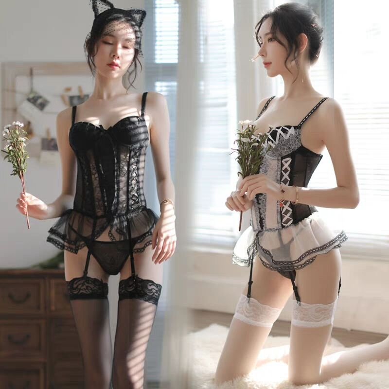 Sexy Sexy Lingerie Sexy Lace Underwire Small Chest Gathered Vest Garter Suit Adult Woman Cosplay Costume Nightclub Uniform