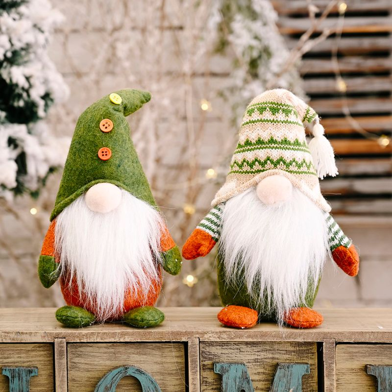 Handmade Christmas Elf Decoration Standing Swedish Gnome Tomte Toy Doll Ornaments Christmas Home Party Decoration Gifts