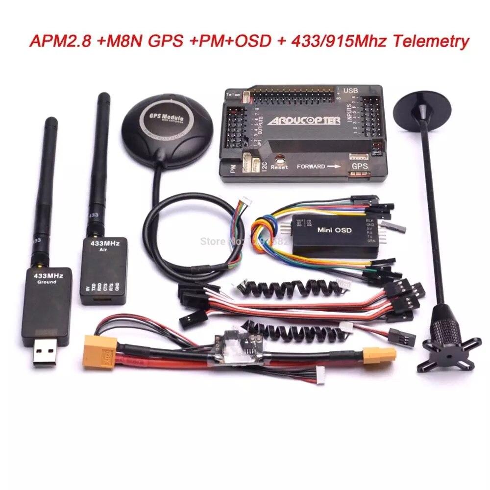 APM2.8 APM 2,8 Контроллер полета M8N 8N GPS Компас + силовой модуль + мини OSD + 915 МГц/433 МГц 100 мВт/500 МВт телеметрический комплект