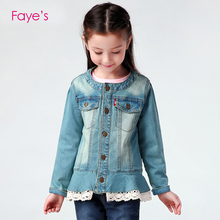 3-10Years Baby Girl Denim Lace Hem Jecket Children Clothes Kids Clothing