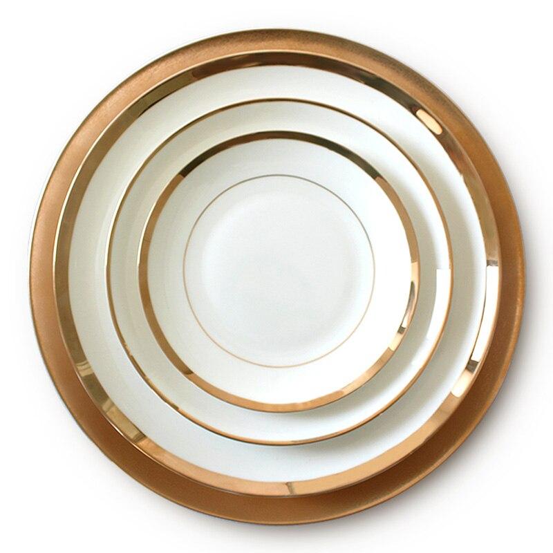 Assiette de Restaurant en porcelaine dorée | Vaisselle à bord en or assiette de Restaurant, assiette de luxe en porcelaine, Restaurant de famille occidentale, plateau de cuisine de mariage - 6