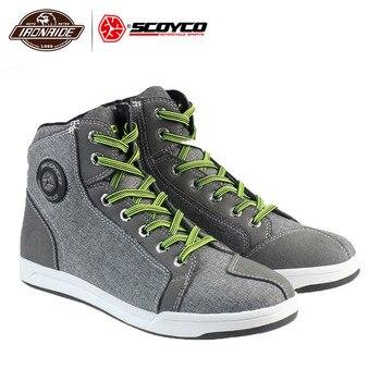 SCOYCO Motorcycle Boots Men Botas Moto Motorcycle Shoes Motocross Boots Breathable Racing Riding Botas Para Moto