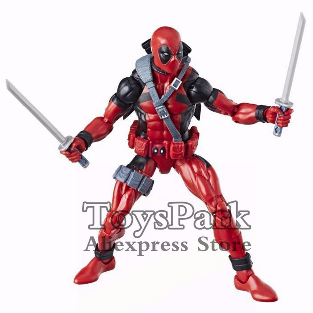 Marvel Legends Series 6 Classic 90s Red Deadpool Action Figure 2018 Sasquatch BAF Wave Collectible Doll Model Loose Original image