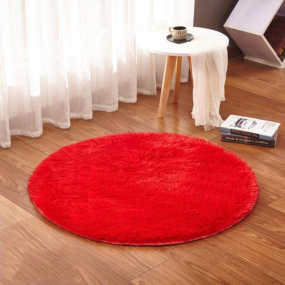 RULDGEE Fluffy Round Alfombra For Living Room Faux Fur Carpet Kids Bedroom Plush Shaggy Computer Chair Upholstery Area Rug Mats