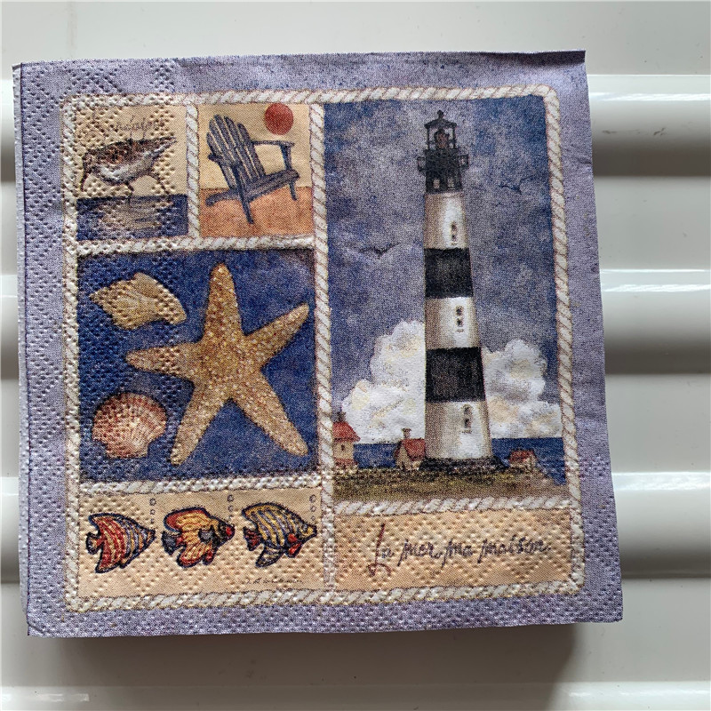 25cm Paper Napkin Tissue Cute Blue Sea Starfish Shell Lighthouse Handkerchief Oil Craft Decoupage Kid Birthday Party Serviettes