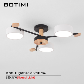 BOTIMI Indoor LED Chandelier For Master Bedroom Modern Wooden Study Room Lustres Ceiling Mounted Living Room Chandeliers 11