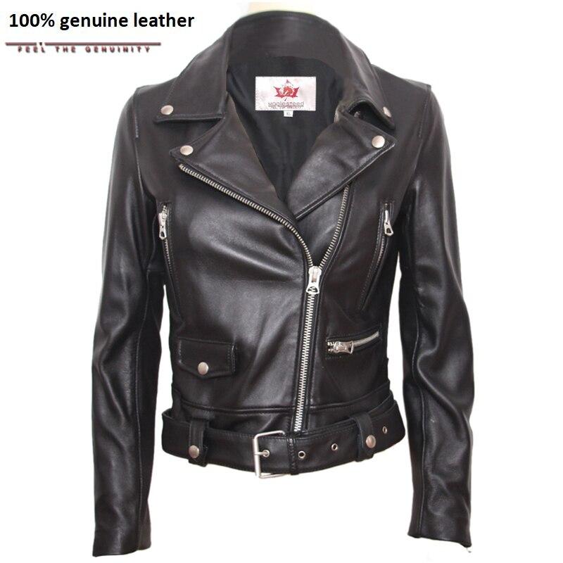 Natural Sheepskin Genuine Leather Jacket Women Brand Slim Female Jacket Real Lambskin Outerwear Ladies Clothing M125