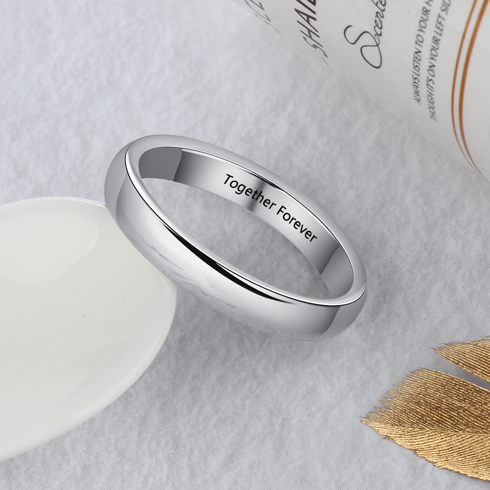 Personalized Silver Engraved Rings For Women Men Custom Name Promise Ring Basic Wedding Bands Jewelry