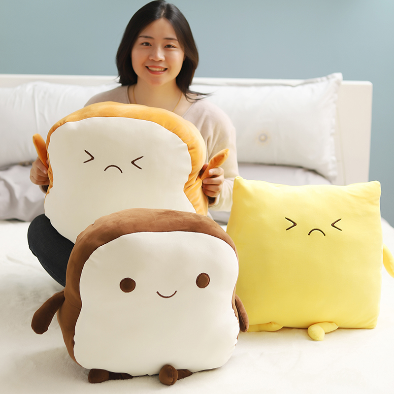Creative Bread Toast Cheese Plush Pillow Cushion Sliced Bread Stuffed Plush Toy Soft Plush Toys Birthday Gift For Kids Children