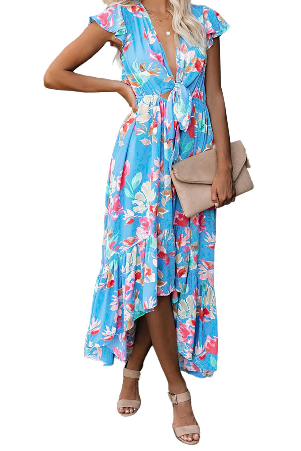 Rose Floral High Low Pocketed Tie Maxi <font><b>Dress</b></font> Women Sky Blue/<font><b>Red</b></font> Deep V Neck <font><b>Short</b></font> Sleeve Summer Beach Long Holiday <font><b>Dresses</b></font> S-XL image