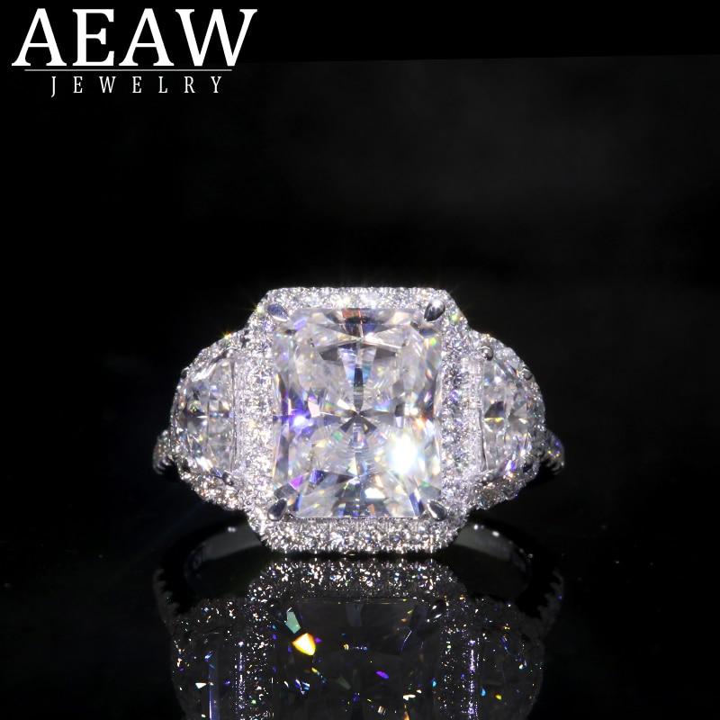 AEAW Randiant Moissanite Ring For Engagement Halo Ring 6ctw White Moissanite Lab Diamond 18k White Gold Wedding Rings For Women