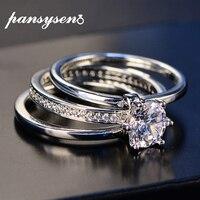 2019 роскошные женские белые свадебные кольца набор Настоящее серебро 925 ювелирные изделия с Цирконом обручальные кольца с камнями для женщи...