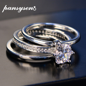 2020 Luxury Female White Bridal Wedding Ring Set Real Sterling Silver 925 Jewelry With Zircon Stone Engagement Rings for Women