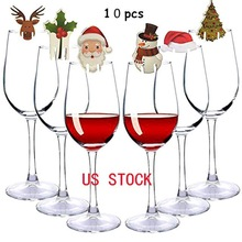 Christmas Wine Glass Decoration Santa Claus Tree Card Red Bar Cup