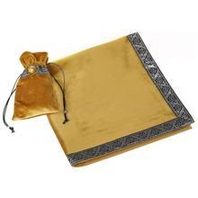 Nappe de Tarot doré avec sac de cartes, Divination Wicca, tissu en velours, 24BD