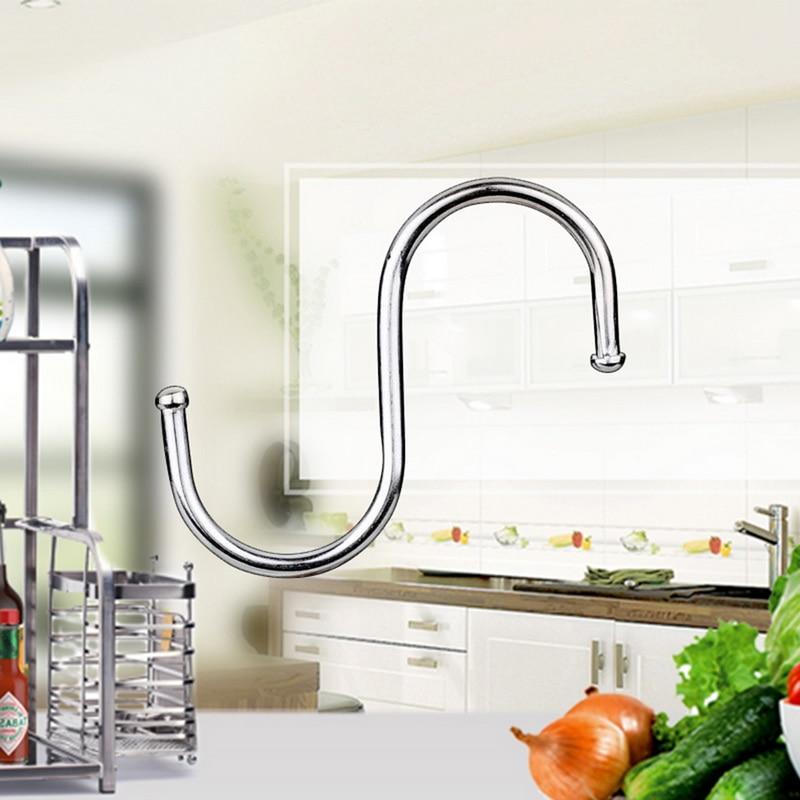 4Pcs Stainless Steel Household Hooks Set For Hanging S Shape Hanger House Kitchen Pot Pan Hanger For Kitchen Cabinet Office