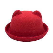 Spring and Autumn Fashion Boys and Girls Fedora Dolls Kittens Ears Wool Felt Hat Dress Children Hat Solid Color Hot Sale(China)