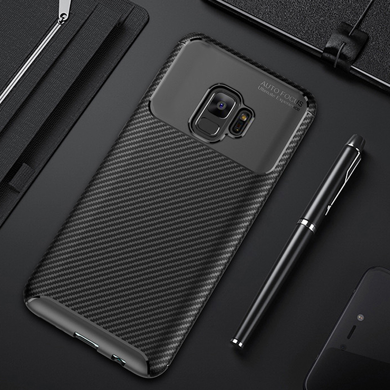 For Samsung <font><b>Galaxy</b></font> S9 <font><b>S</b></font> <font><b>9</b></font> Plus Case Luxury Carbon Fiber Cover Shockproof Phone Case For Samsung S9+ Cover Full Protection Bumper image